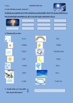 Interactive worksheet Eesti taevas 2.klass