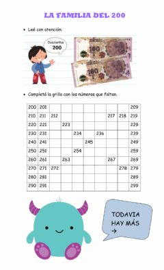 Interactive worksheet La familia del 200