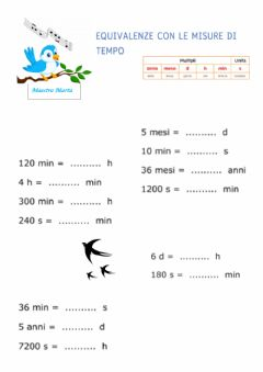 Interactive worksheet Misure di tempo 2