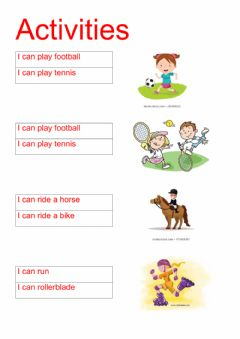 Interactive worksheet Activities