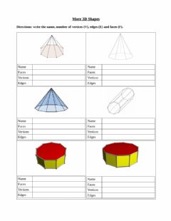 Ficha interactiva Larger 3D Prisms and Pyramids
