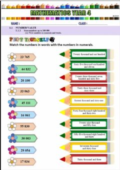 Interactive worksheet Numbers in words and numerals