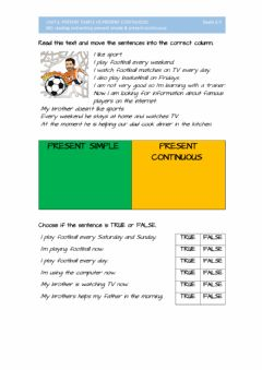 Interactive worksheet 005reading and writing present simple & present continuous