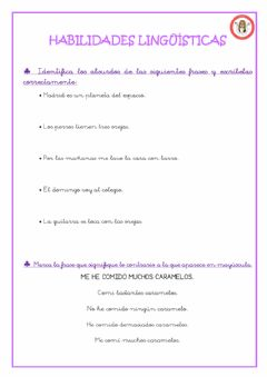 Interactive worksheet Habilidades lingüisticas