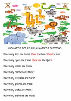 Interactive worksheet How many animals are there?