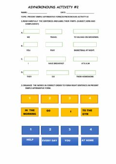 Interactive worksheet Present simple-Asyncrounous activity 2