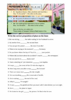 Ficha interactiva Prepositions of place - in, on, at