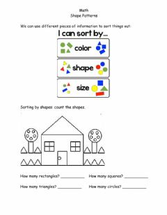 Interactive worksheet Math Sorting things bar shape, color or size May 12