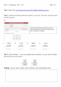 Interactive worksheet Column Subtraction 2