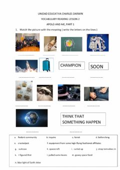 Interactive worksheet Space vocabulary