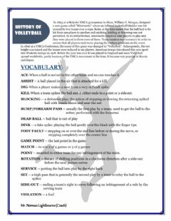 Interactive worksheet Volleyball Study Guide