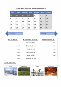 Interactive worksheet Le mois de mai - version de base