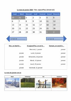 Interactive worksheet Le mois de janvier - version de base