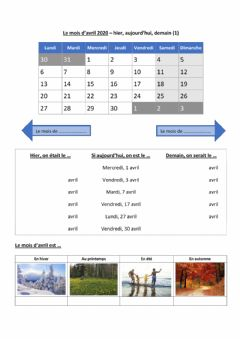 Interactive worksheet Le mois d'avril - version de base