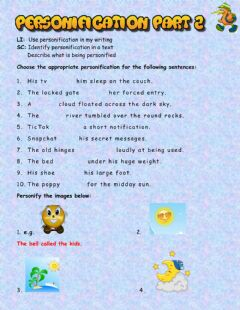 Interactive worksheet Writing - Personification Part 2