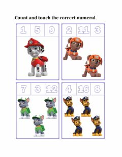 Interactive worksheet Count and touch the correct numeral