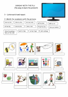 Ficha interactiva LIsten to a song and work on vocabulary and Preterit