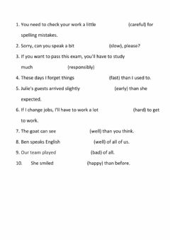 Interactive worksheet Comparative and superlative adverbs