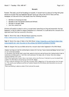Interactive worksheet Recount- Wind in the Willows