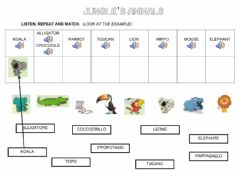 Interactive worksheet Jungle's animals