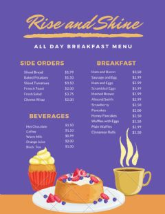 Interactive worksheet Breakfast Menu
