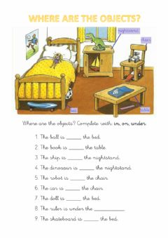 Interactive worksheet Prepositions: in, on, under.