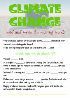 Interactive worksheet Climate change