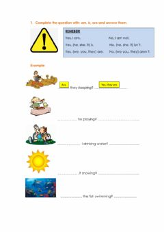 Interactive worksheet Present Continuous (questions and short answers)