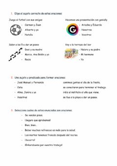 Interactive worksheet Oraciones-sujeto y predicado