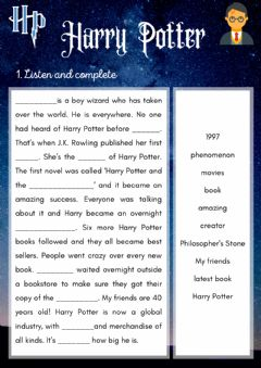 Interactive worksheet Listening: Harry Potter