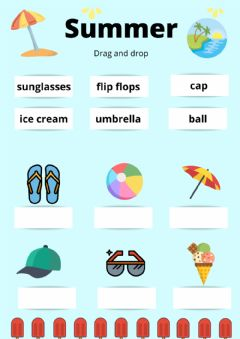 Interactive worksheet Summer drag and drop