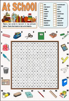 Interactive worksheet School objects - Wordsearch