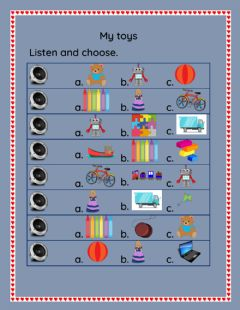 Interactive worksheet My toys -  Listen and choose