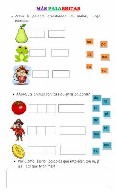 Interactive worksheet Palabras p m s