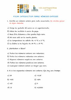 Interactive worksheet Números enteros (I)