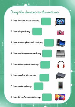 Interactive worksheet Devices and verbs drag