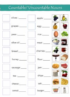 Interactive worksheet Countable - Uncountable Nouns (b, A, B)