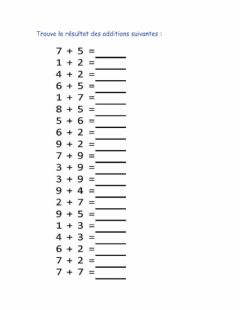 Interactive worksheet Additions