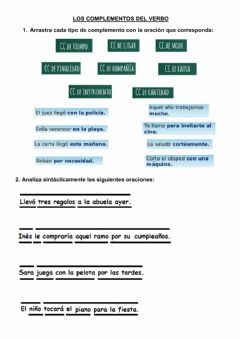 Interactive worksheet Complementos del verbo
