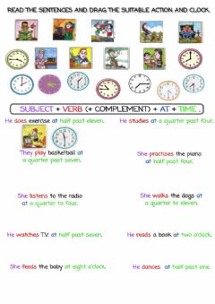 Interactive worksheet Daily routines and time