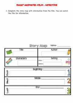 Interactive worksheet Story elements map -The detective-