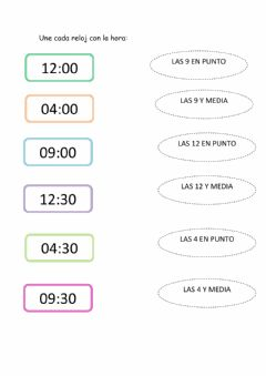Interactive worksheet La hora digital
