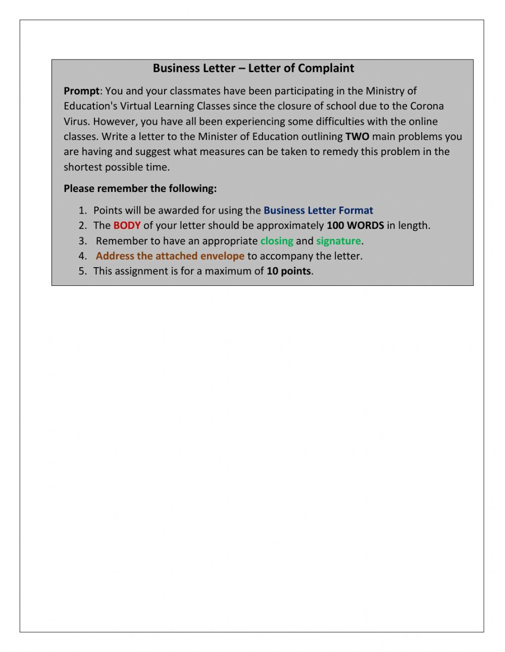 Letter Format In English from files.liveworksheets.com