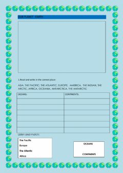 Interactive worksheet Our Planet: EARTH