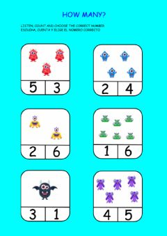 Interactive worksheet How many monsters