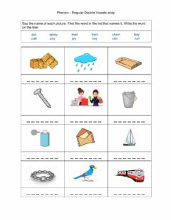 Interactive worksheet Phonics - Regular Double Vowels ai-ay