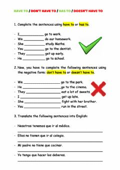 Interactive worksheet Have to