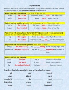 Interactive worksheet Superlatives: The Rules!