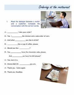 Interactive worksheet Ordering a meal