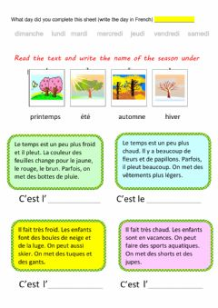 Interactive worksheet Les saisons